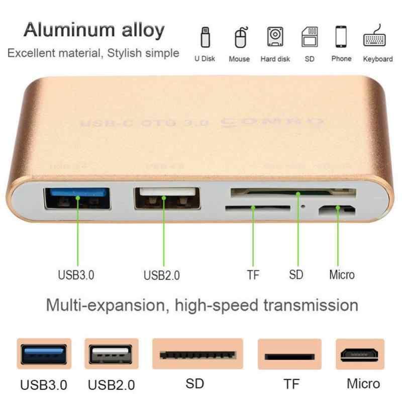 5 في 1 USB C الخارجية قارئ بطاقات نوع-C إلى المصغّر USB USB3.0/2.0 SD/TF فتحة للبطاقات محول عال السرعة للكاميرا بوك أندرويد