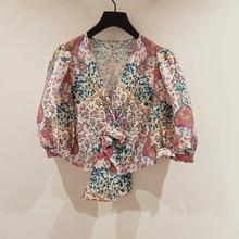 Elegant printed women shirt V-neck Puff sleeve lace-up lady