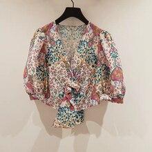 Elegant printed women shirt V-neck Puff sleeve lace-up lady shirt