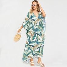 2020  Quick drying Bohemian Women Summer Beach Dress Swim Wear Cover Up Tunic Sexy Deep Kaftan Beach Bikini Cover ups pareo Q930