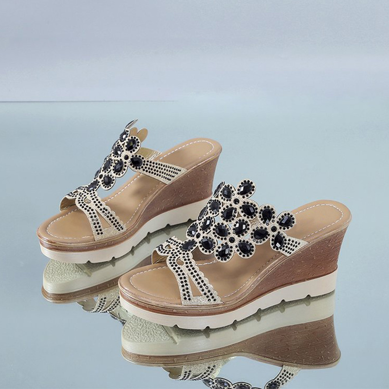 Women Slippers Crystal Wedges Slides For Women High Heels Fashion Summer Beach Shoes 2020 Female Platform Sandalias New