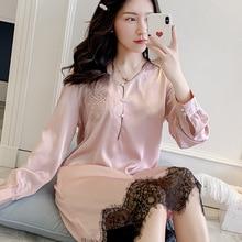 Pink Lace Women Nightgown Stain Patchwork Sleepwear Nightwear Long Sleeve Female Sleep Dress Shirt Loose Home Clothes