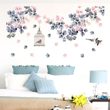 139*71cm pegatinas de pared de flores decoración de cama jaula de pájaros decoración del hogar PVC DIY vinilos adhesivos de pared para dormitorio TV sofá Laday regalos