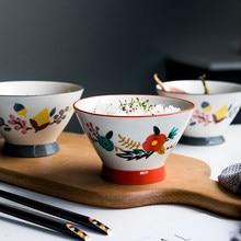 Estilo japonês pintados à mão tigela de cerâmica para restaurante casa hotel macarrão heatable sobremesa bolo arroz tigela cozinha utensílios de mesa