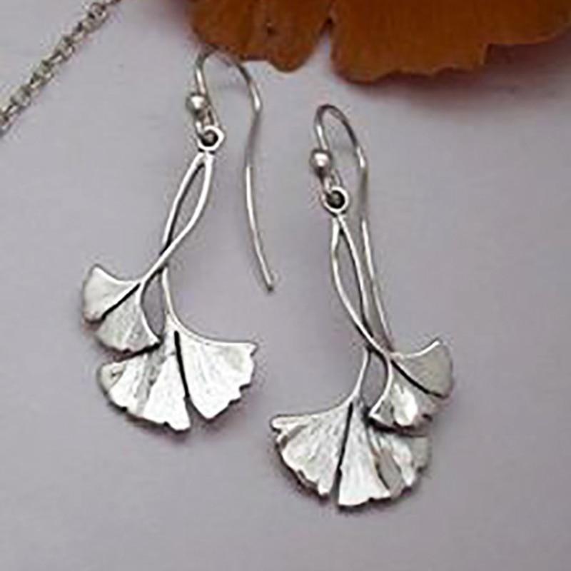 Bohemian Silver Color Ginkgo biloba Leaf Drop Earrings for Women Statement Earring Punk Vintage Jewelry Accessories O3D342
