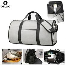 OZUKO Bolso de viaje de gran capacidad para hombre, bolsa de equipaje de mano multifunción, impermeable, con bolsillo para zapatos