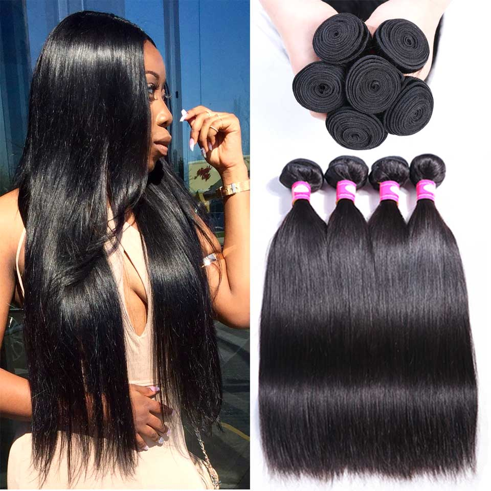 Straight Hair Bundles Brazilian Hair Weave Bundles 100% Human Hair 3/4 Bundles Deal Non-Remy Hair Extensions Medium Ratio