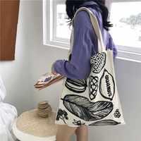 Bolso de lona de algodón para mujer, bolso de compras para mujer, Impresión de letras, gran capacidad, bolso bolsas plegables, reutilizable