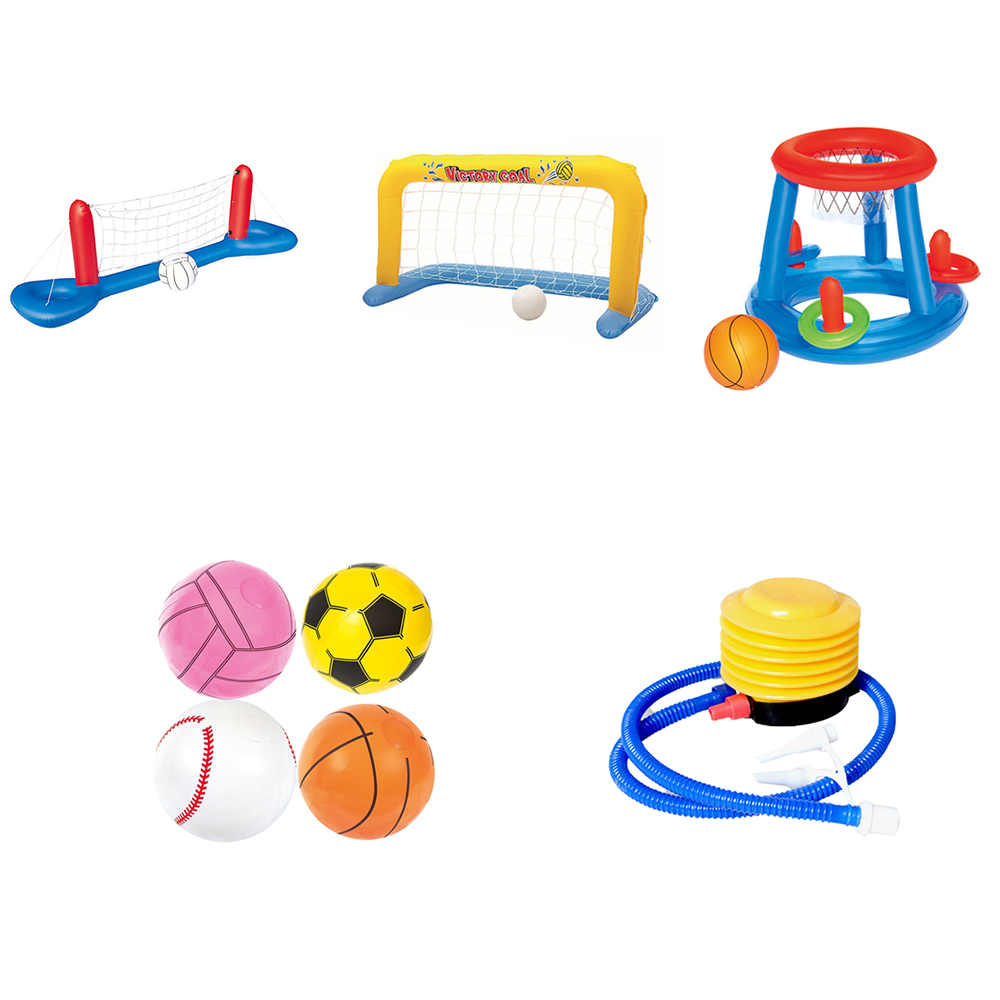 Children Inflatable Beach Floating Hoops Swimming Pool Toys Ball Games Volleyball Basketball Water Sports Outdoor Playing