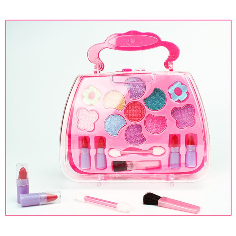 Safe Non Toxic Children Girl Princess Makeup Set Eyeshadow Lipstick Brush Kit Pretend Play Education Toy Q6PD