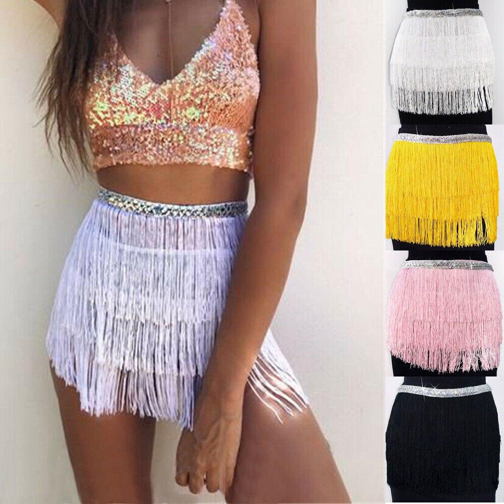 Ladies Sexy Tassel Mini Skirts Solid Color Women Fringe Sequin Short Skirt