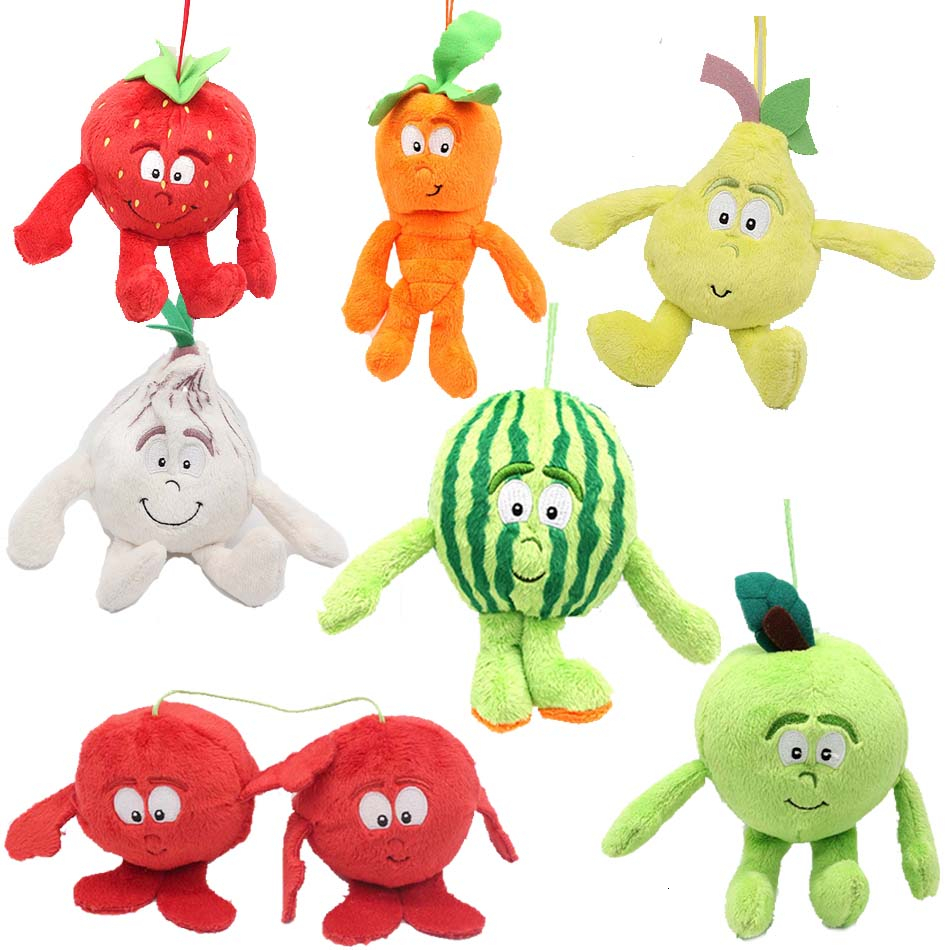 Various Selected Styles Of New Fruit Vegetable Strawberry Pear Watermelon Green Apple Cherry Carrot Onion Soft Plush Toy Doll