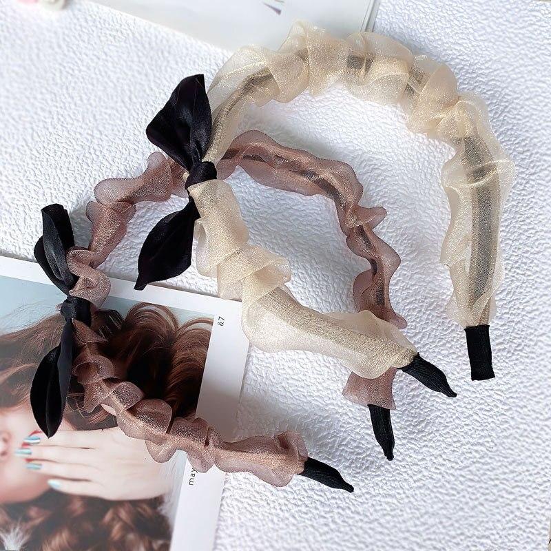Купить обруч для волос с украшением из органзы милый прозрачный сетчатый