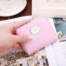 Carteira feminina de couro pequeno carteira titular do cartão zip moeda bolsa embreagem mini sacos doces cores moedas bolsas monedero mujer