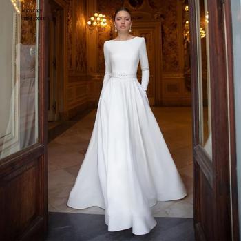Sexy Long Sleeve Simple Wedding Dresses 2020 Satin Lace Beading Bride Gowns Beach Vestido De Noiva Boho Princess Party