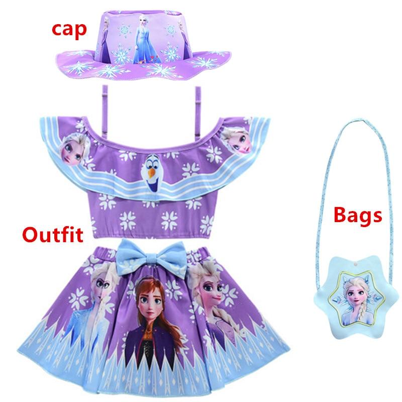 Ice Snow Swimsuit 4pcs Baby Girls Bathing Suit Elsa Anna Sophia Swimsuit Children Bikini Set Kids Cartoon Swimwear Costume