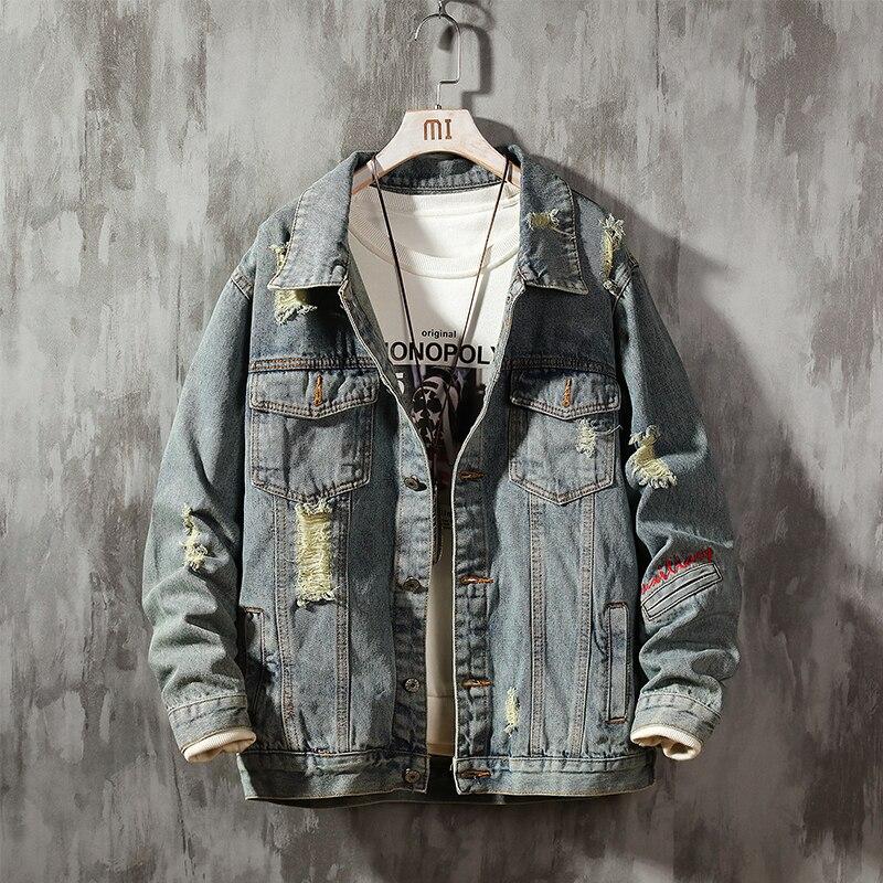 Safari Style Coat Hole Denim Jacket Men's Clothing Casual Coats New Korean Trend Handsome Denim Jacket Men Top Clothing Size 4XL
