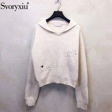 Svoryxiu осень-зима из высококачественной шерсти кашемировые пуловеры, свитеры женские с длинным рукавом вышивка дизайнерский вязаный джемпер