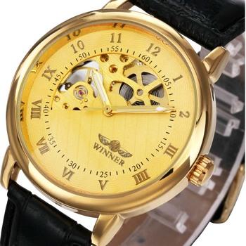 Luksusowe złoto mechaniczne ręcznie nakręcany zegarki mężczyźni skórzany pasek mechaniczne zegarki na rękę mężczyźni tanie ceny Drop Shipping Montre Homme tanie i dobre opinie T-GOER Nie wodoodporne CN (pochodzenie) Klamra Moda casual Mechaniczna Ręka Wiatr 24cm STAINLESS STEEL Brak 0822336 ROUND