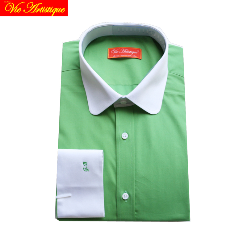Custom Tailor Made Men's Bespoke Dress Shirts Business Formal Wedding Blouse Bespoke Blouse 100% Cotton Grass Green Free Ship