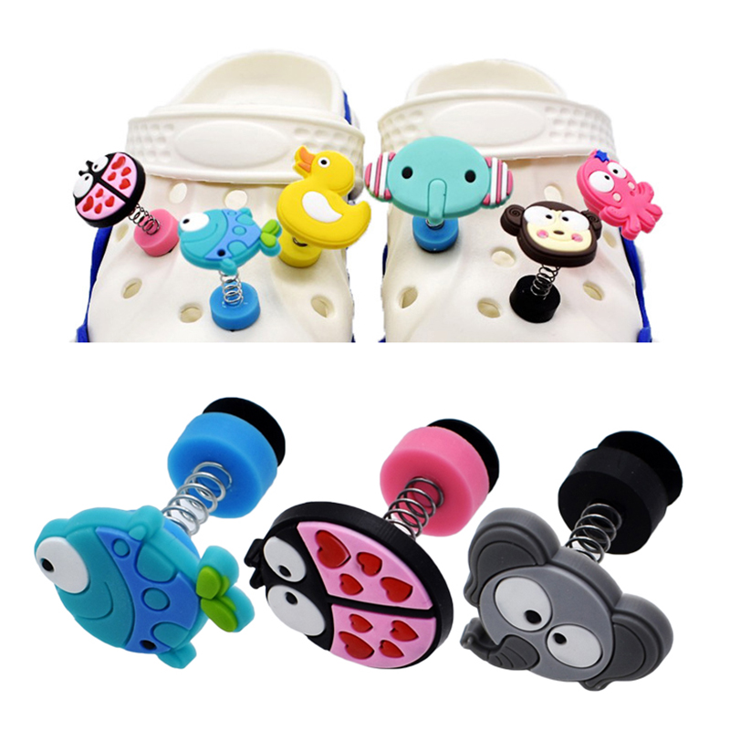1pc Cute Animals PVC Shoe Charms Shoe Accessories DIY Shoe Decoration For Croc Jibz Kids Creative Cartoon Spring Shoes Buckles