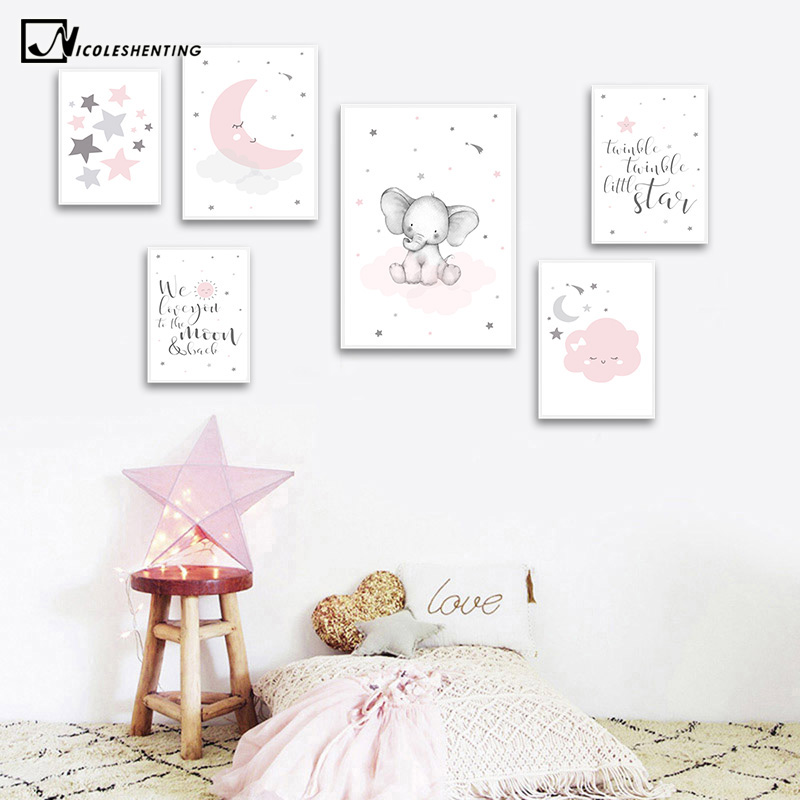 Pink Moon Elephant Cartoon Child Poster Nursery Quotes Art Canvas Print Wall Painting Nordic Kid Baby Girl Room Decor Picture
