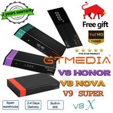 Atualizado gtmedia v8x receptor gtmedia v8 nova/honor power por freesat v9 super built-in wi-fi 1080p DVB-s2 fta decodificador nenhum aplicativo