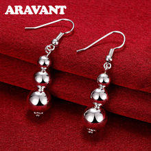New Arrival 925 Silver Color 10MM Solid Bead Drop Earrings For Women High Quality Jewelry