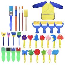 31pcs Kids Early Learning Painting Brush Sponge Painting Brush Child Fun Painting Brushes Long Sleeve Waterproof Apron Art Set tanie tanio 1183127