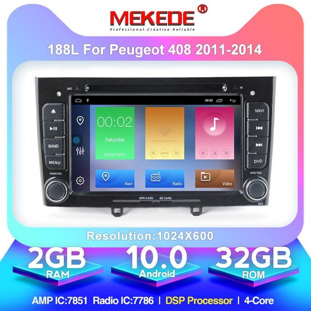 Мультимедийный проигрыватель для Peugeot 308 408, 7 дюймов, HD 1024x600, Android 10,0, с Wi Fi, радио, GPS навигацией, картой 8 Гб