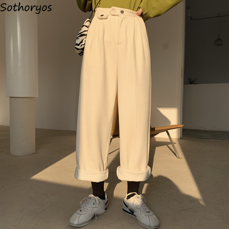 Women Pants Korean Style New Loose All-match Corduroy Wide Leg Trousers Womens Trendy Leisure Harajuku Daily Ulzzang High Waist