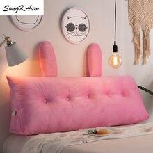 Songkaum lavável bonito coelho orelhas longo almofada de cabeceira estilo europeu dupla face almofadas casa dupla almofadas tatami