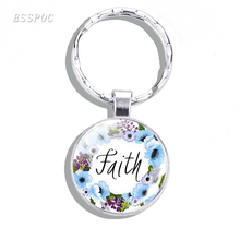faithBible Verses Key Chain Glass Cabochon Metal Key Rings Scripture Quote Jewelry Christian Faith Inspirational Gifts god is my refuge and strength a very present help in trouble key chain glass cabochon god jewelry bible verse key rings