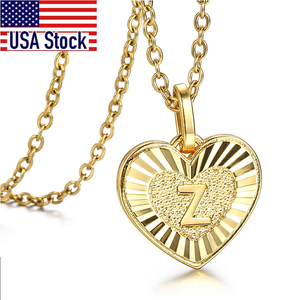 Initial Letter Heart Pendant Necklace for Women Girl 26 Letters Charm Stainless Steel Rolo Cable Link Chain Love Jewelry GP419A