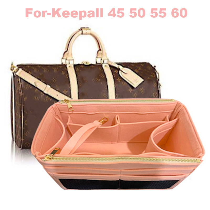 For Keepall 45 50 55 60 3MM Premium Felt Tote Organizer Tote (w/Double Zipper Pockets)(Handmade/20 Colors