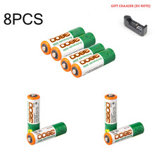 8PCS high quality 100% New Original AA battery 1.2V 3600mah lithium rechargeable  flashlight ion