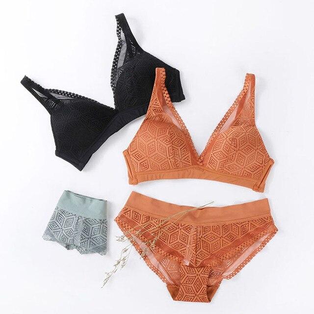 CINOON New Push Up Bra Set Deep V Brassiere Lace Underwear Panties Thin breathable bra set Jacquard Sexy Underwear Free Shipping 4