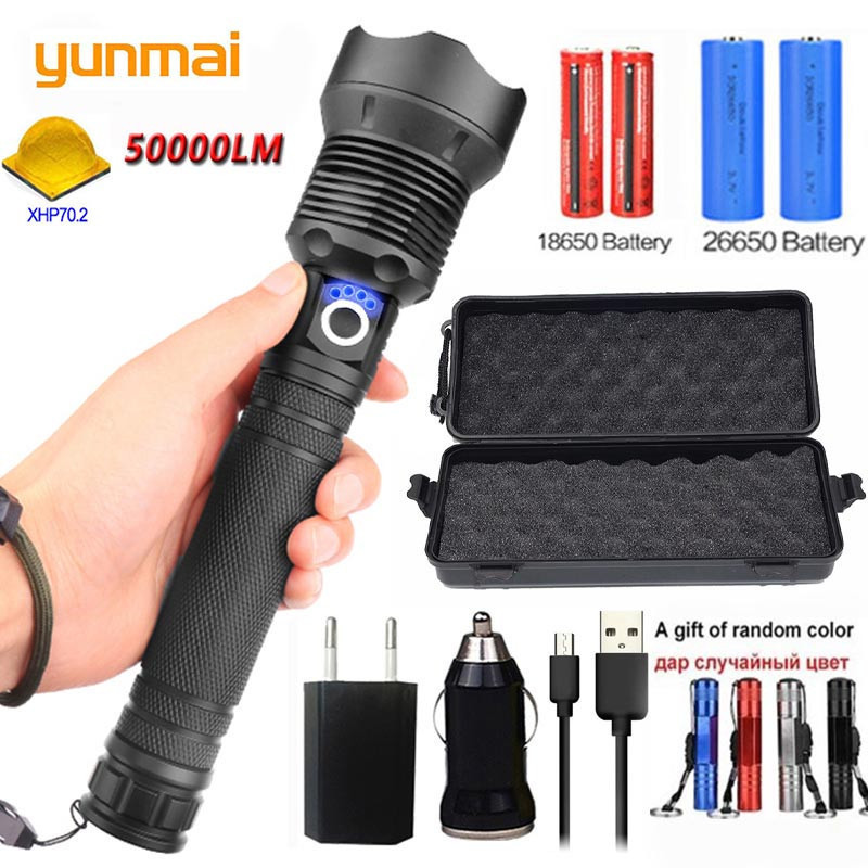 Yunmai 5000LM XHP70.2 & XHP50 Rechargeable Powerful Tactical Led Flashlight Torch Light Lamp Power 18650 26650 Battery Wholesell