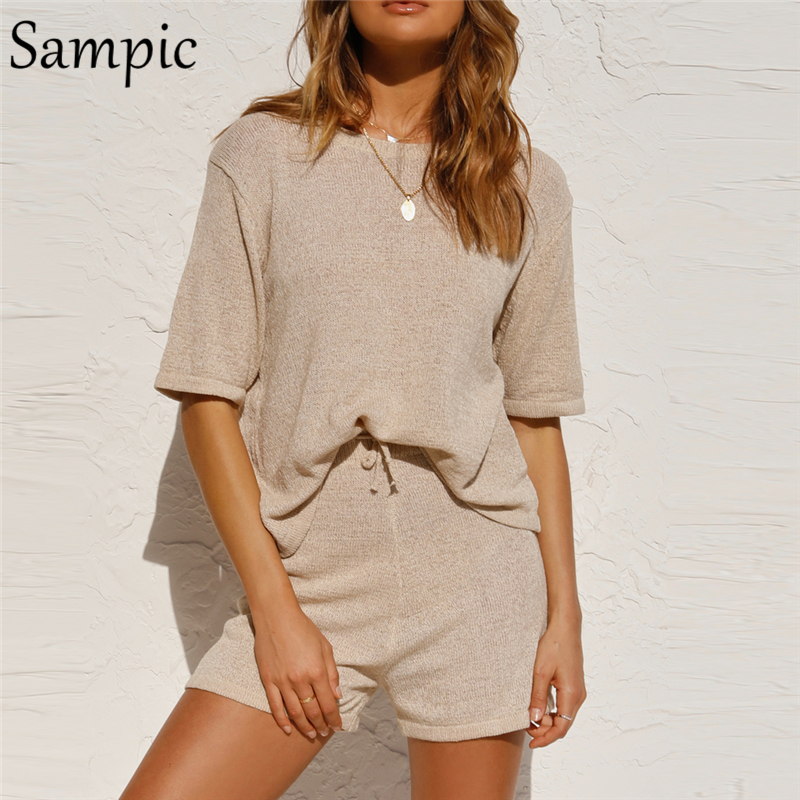 Sampic Summer Beach Casual O Neck Khaki Short Sleeve Two Piece Set Crop Top And Shorts Drawstring 2 Piece Women Set Outfits