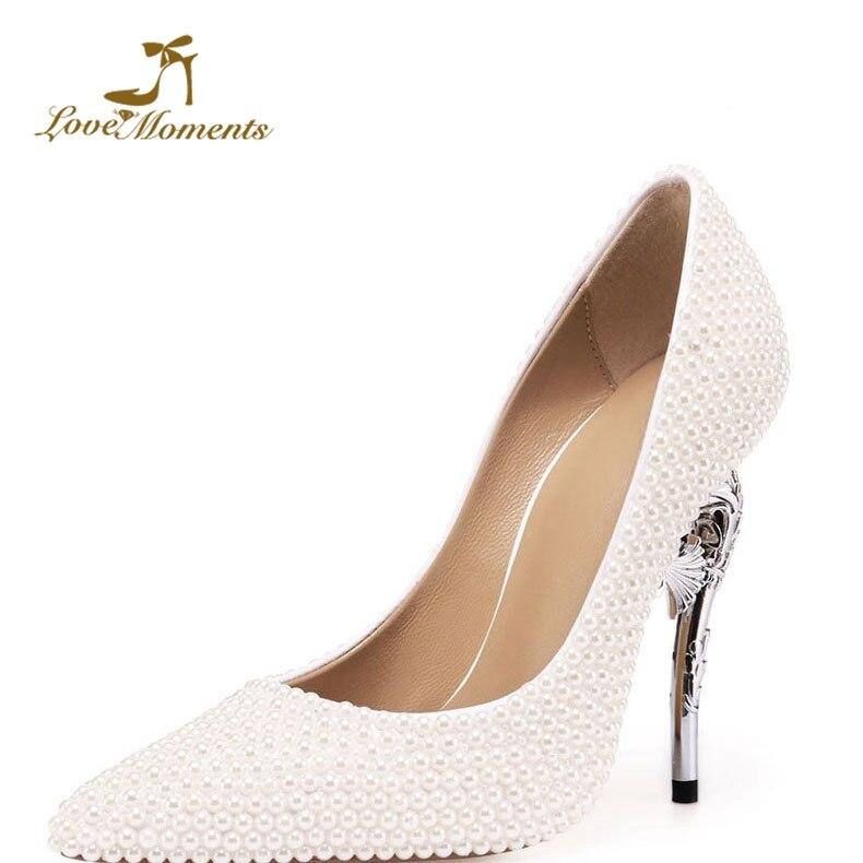 Bianco Perla Donne Pompe Strano Tacco A Spillo 11 centimetri Tacchi Pattini di Vestito Da Sposa scarpe A Punta Da Sposa Su Misura Bella tacchi Alti