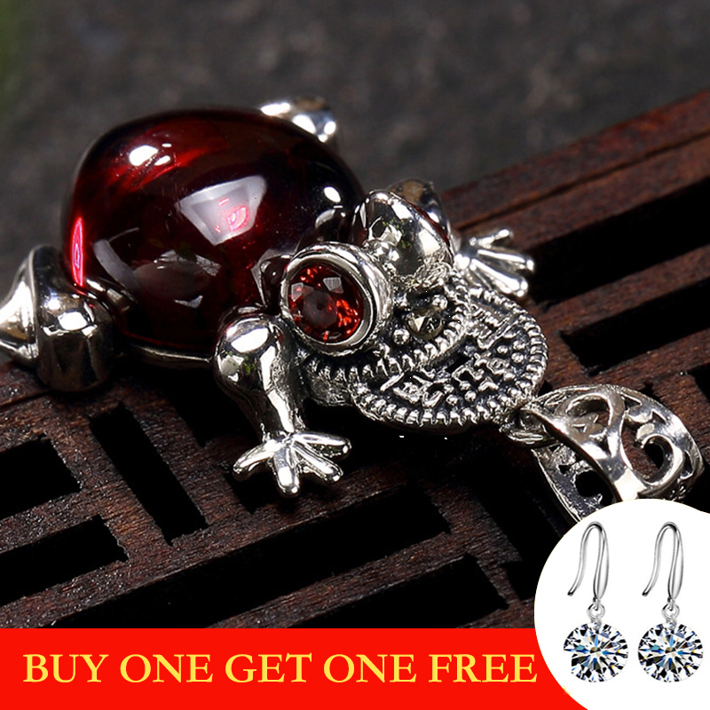 NOT FAKE S925 Fine Antique Shop Store Ruby Pendant For Necklace Women Handmade Vintage Natural Carnelian Ruby Red Jasper