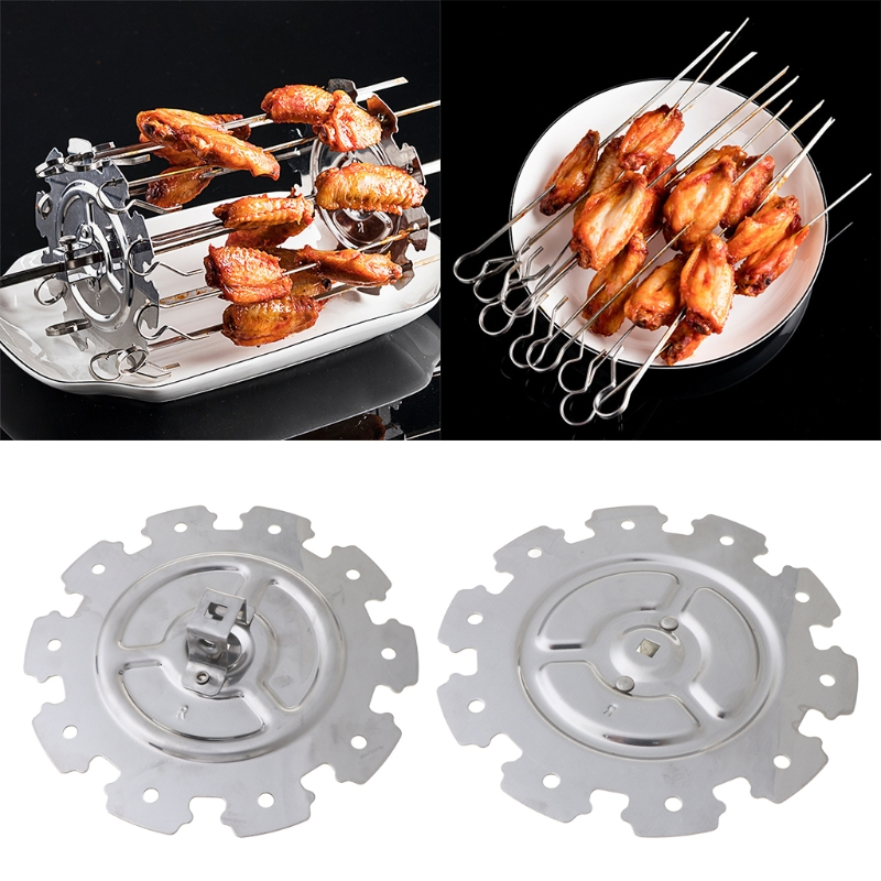 BBQ Grill Cage, Steel Metal Rotisserie Skewers Needle Cage Oven Kebab Maker Gril