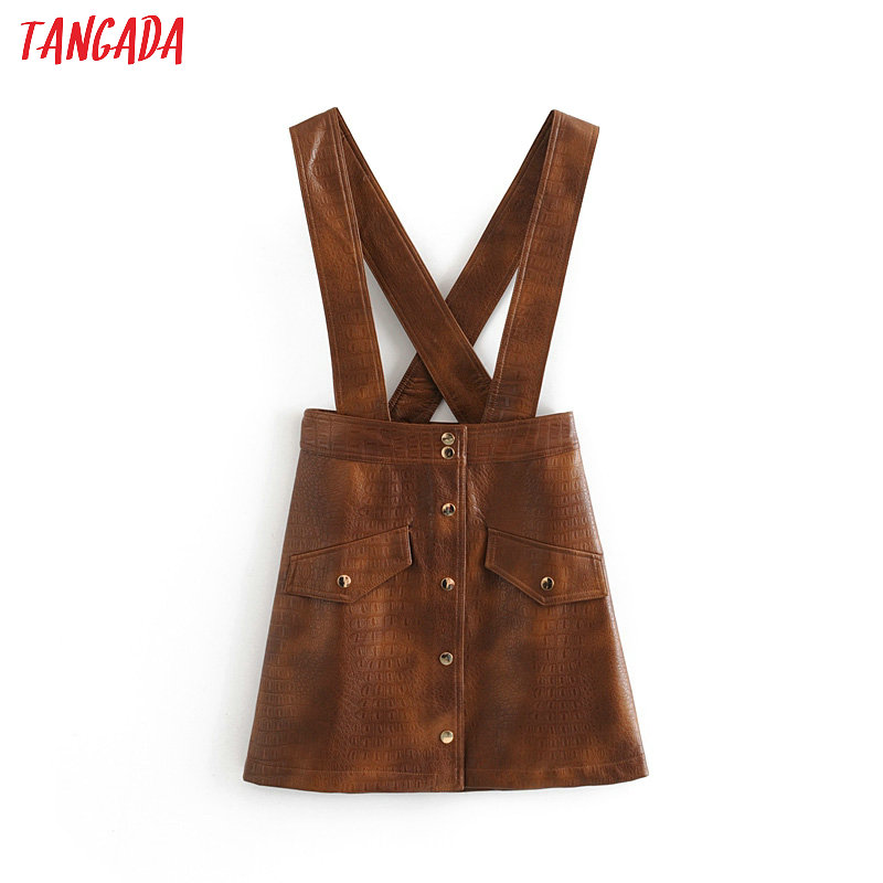 Tangada Women Retro Style Pu Leather Brown Mini Skirt Buttons Female Casual Office Wear Chic Faux Leather Skirts  3H136
