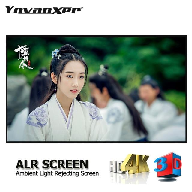 """Окружающий светильник, отвергающий ALR тонкий проектор с фиксированной рамкой, экран 80 """" 150"""", ультра тонкий приграничный анти светильник, проекция"""