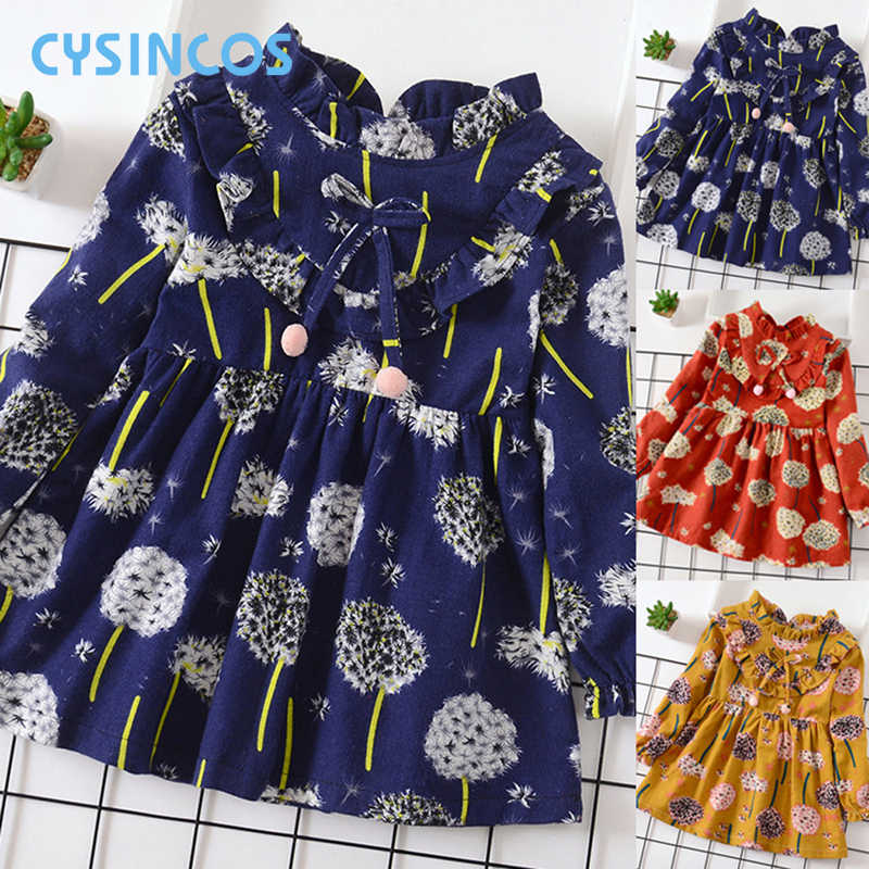 Fashion Girls Flower Ruffles Dress Children Cotton Princess Dresses Girls Party Wedding Costumes Kids Baby Bow Pompom Clothes