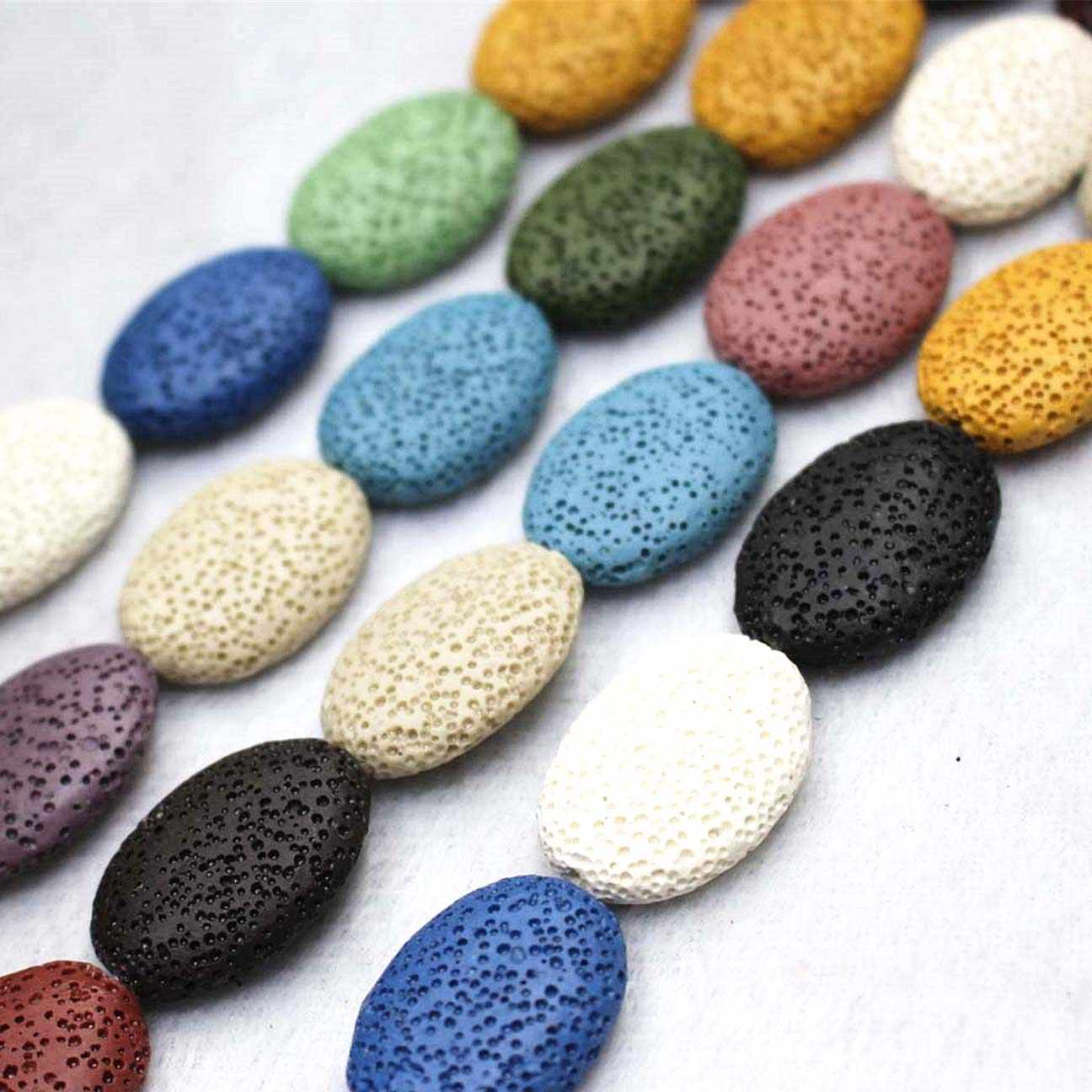 Wholesale Natural Lava Loose Beads,15 Color Volcanic stone Oval shape beads DIY jewelry accessories