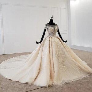 Image 2 - HTL1107 boncuk gelin elbise gelinlik şampanya o boyun payetli püskül kristal korse düğün elbisesi kapaklı kollu suknie slubne