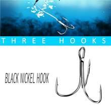 Yeni 50 adet tiz balıkçılık kanca siyah nikel dikenli Fishhooks verimli süper keskin sazan üçlü kanca deniz olta takımı aksesuarları sıcak