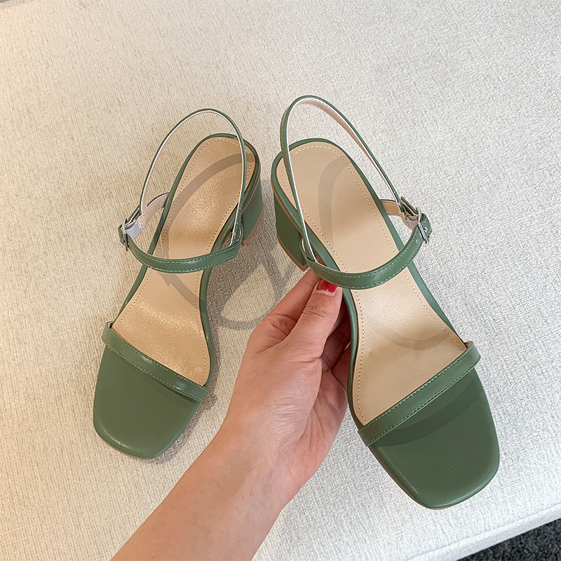 SLHJC Women Summer Leather Sandals Med Chunky Heels Summer Pumps Shoes Lady Open Toe Brief Style Buckle Shoes