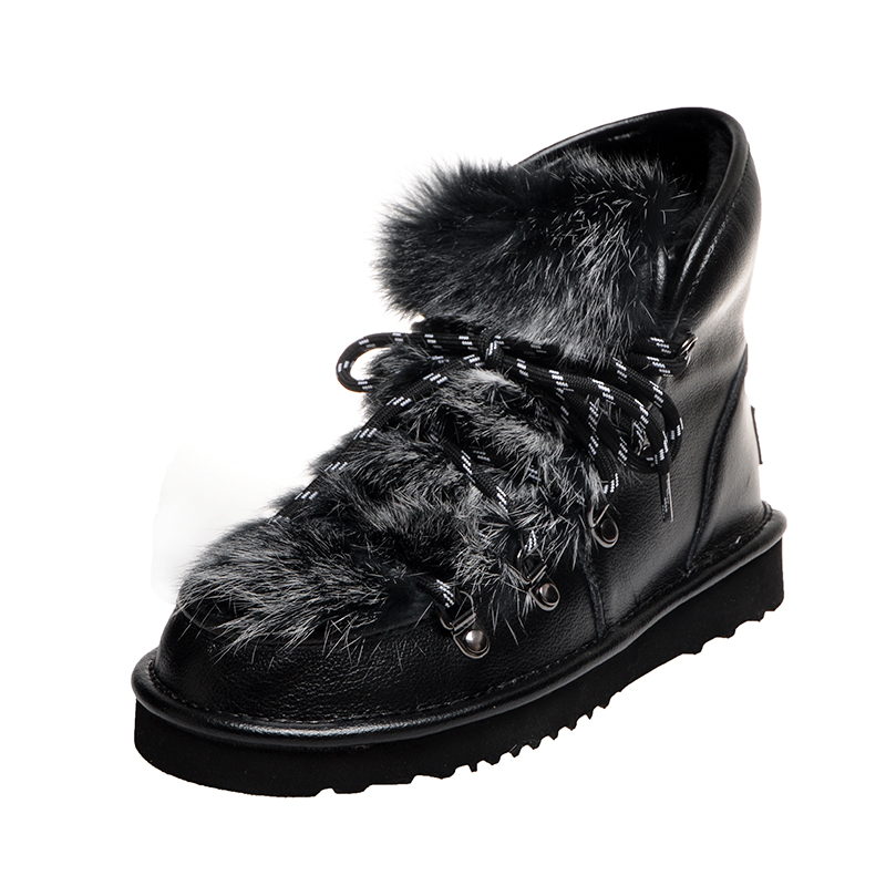 Women Furry Snow Boots Winter Warm Shoes Ladies Girls Round Toe Luxury Fur Ankle Bootie Film Leather Lace UP Outside Wear 2020